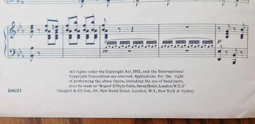 Yeomen of the Guard Gilbert Sullivan Savoy opera PIANO Vintage 1930s sheet music